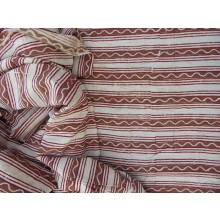 Organic Cotton Fabric - Block Printed Stripes - Browns