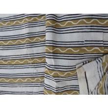 Organic Cotton Fabric - Block Printed Stripes - Greens