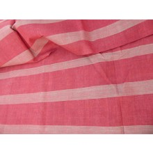 Organic Cotton Fabric - Bold Red & Pink Stripes
