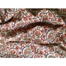Organic Cotton Fabric - Kalamkari Pattern -Ecru, Red, Blue & Green