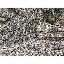 Organic Cotton Fabric -Kalamkari Pattern - Ecru, Greens