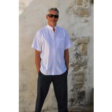 Organic Cotton Men's Shirt-Grandad Collar-Short Sleeves-Breast pocket White or Ecru