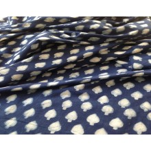 Organic Cotton Fabric - Indigo & White