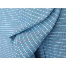 Organic Cotton Striped Fabric -Blue Red White