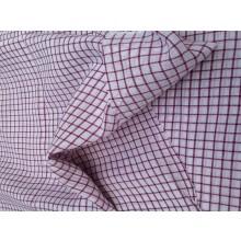 Organic Cotton Fabric - White & Violet Plaid