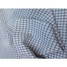 Organic Cotton Fabric -White & Black Plaid