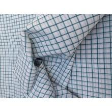 Organic Cotton Fabric - White & Blue Plaid