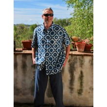 Men's Organic Cotton Shirt - Classic Collar-Short Sleeves-Breast Pocket