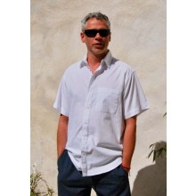 Men's Organic Cotton Shirt - Short Sleeves-Breast Pocket available in White & Ecru